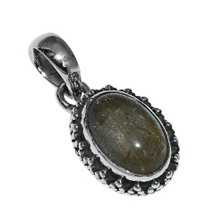 Golden Rutile Oval Shape 925 Sterling Silver Pendant Jewelry Gift For Her