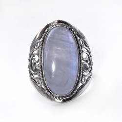 Gorgeous Rainbow Moonstone 925 Sterling Silver Ring Jewelry