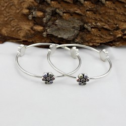 Fashionable Round Shape Multi C.Z Gemstone 925 Sterling Silver Bangle Boho Jewelry