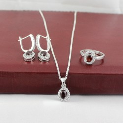 Great Impression Red Garnet White CZ Jewellery Set 925 Sterling Silver With Rhodium Polished Set Jewellery