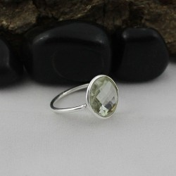 Luxury !! Green Amethyst 925 Sterling Silver Ring