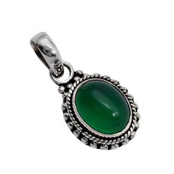 Green Onyx 925 Sterling Silver Boho Pendant Jewelry Indian Silver Jewelry