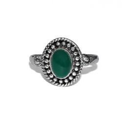 Slice !! Green Onyx 925 Sterling Silver Boho Ring Handmade Jewelry