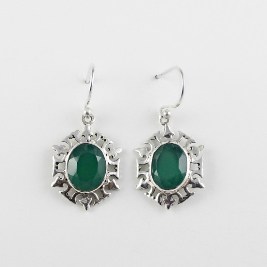 Amazing Color Of !! Green Onyx 925 Sterling Silver Earring