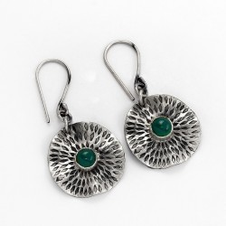 Green Onyx Oxidized Drop Dangle Earring 925 Sterling Silver Jewelry Gift For Her