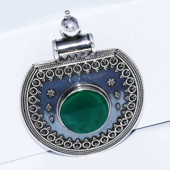 Green Onyx Pendant 925 Sterling Silver Handmade Jewelry Exporter Oxidized Silver Jewelry