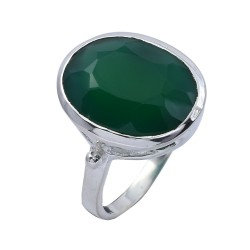 Green Onyx Ring 925 Sterling Silver Ring Handmade Silver Jewelry Engagement Ring Gift For Her