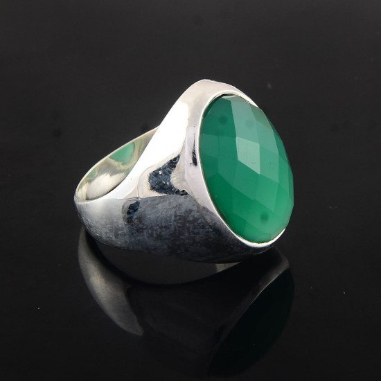 Attractive Look !! Green Onyx Ring 925 Sterling Silver Solitaire Ring Jewelry