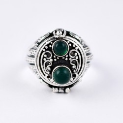 Green Onyx Ring Handmade 925 Sterling Silver Oxidized Jewellery Poison Ring Friendship Ring Jewellery