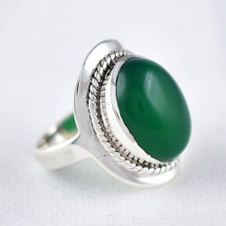 Green Onyx Ring Oval Shape Solitaire Ring 925 Sterling Silver Handmade Jewelry Gift For Her