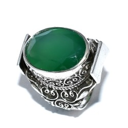Green Onyx Ring Solid 925 Sterling Silver Oxidized Silver Ring Boho Ring Handmade Silver Jewellery