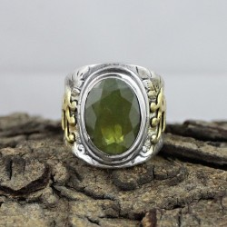 Amazing Silver Ring !! Prehnite Silver Ring Green Color Handmade Silver Ring
