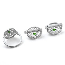 Green Tourmaline Rhodium Polished Ring Earring Jewellery Set 925 Sterling Silver Handmade Jewellery Set Gift For Her