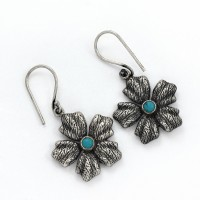 Green Turquoise Flower Shape 925 Sterling Silver Handmade Earring Jewelry Gift For Her