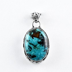 Green Turquoise Pendant 925 Sterling Silver Oxidized Silver Pendant Indian Silver Jewelry Gift For Her