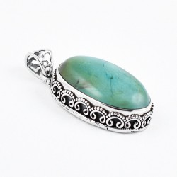 Green Turquoise Pendant Handmade 925 Sterling Silver Indian Silver Jewellery Oxidized Silver Pendant Jewellery