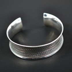 Hand Braided Cuff Bangle Handmade 925 Sterling Plain Silver Bangle Jewelry