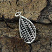Handmade 925 Sterling Plain Silver Pear Shape Mash Pendant Jewelry Gift For Her