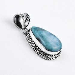 Handmade 925 Sterling Silver Larimar Pendant Pear Shape 925 Stamped Jewelry Wholesale Silver Jewelry