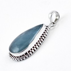 Handmade 925 Sterling Silver Natural Aquamarine Pendant 925 Stamped Oxidized Jewellery