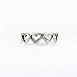 Heart Ring 925 Sterling Plain Silver Handmade Jewelry Gift For Her