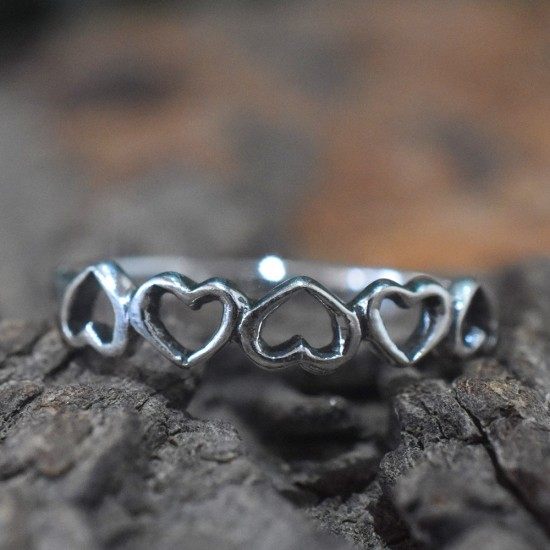 Heart Shape Band Ring Love Ring Handmade 925 Sterling Silver Jewellery Engagement Ring