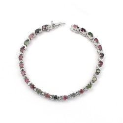 Impressive Tourmaline Gemstone 925 Sterling Silver Bracelet Jewelry For Her