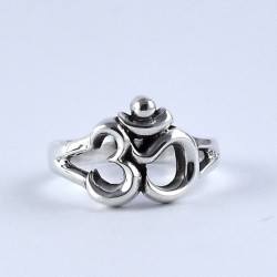 Indian Religious Jewelry OM Shape 925 Sterling Plain Silver Ring Jewelry Traditional Design Ring Jewelry