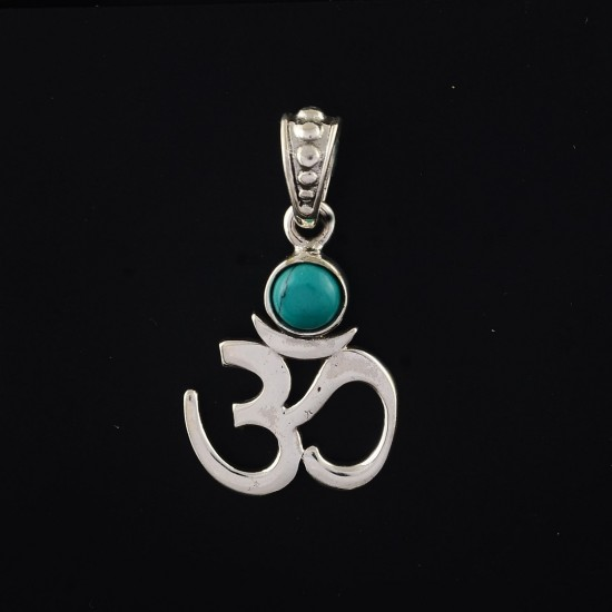 Indian Religious Jewelry Turquoise 925 Sterling Silver Pendant Jewelry