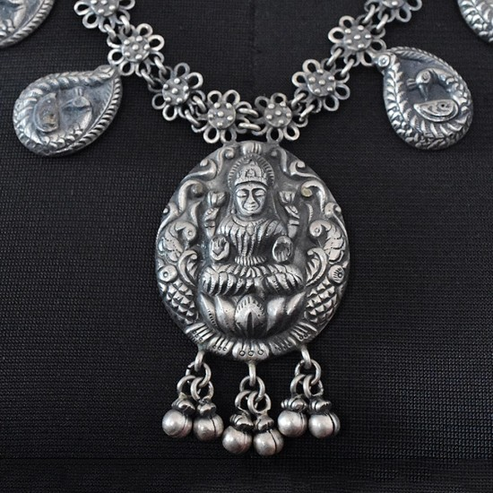Beautiful Oxidized Indian Religious 925 Sterling silver Necklace Jewelry