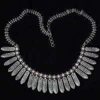 Indian Tribe Plain 925 Sterling Silver Necklace Handmade Silver Jewelry Oxidized Silver Necklace