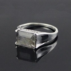 Exclusive Design!! Labradorite 925 Sterling Silver Rhodium Plated Ring Jewelry