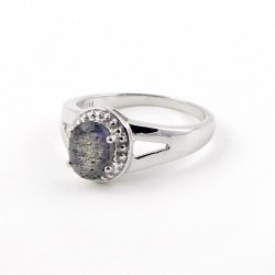 Attractive Labradorite 925 Sterling Silver Rhodium Plated Ring Jewelry For Her