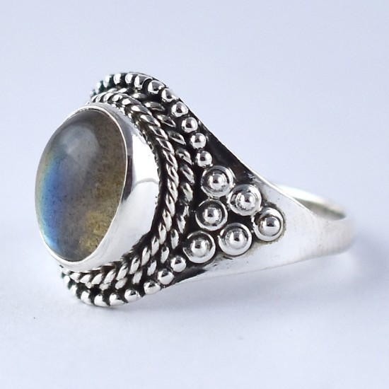 Labradorite Ring Handmade 925 Sterling Silver Oxidized Silver Jewelry Boho Ring Gift For Her