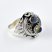 Labradorite Ring Handmade 925 Sterling Silver Poison Ring Oxidized Silver Jewelry Wholesale Silver Jewelry Gift For Her