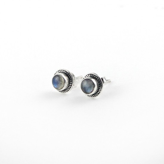 Stunning Labradorite Stud Earring 925 Sterling Silver Jewelry