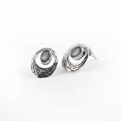Labradorite Stud Earring 925 Sterling Silver Fashion Jewelry