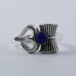 Lapis Lazuli OM Shape Ring 925 Sterling Silver Indian Religious Ring Jewelry Artisan Design Jewelry