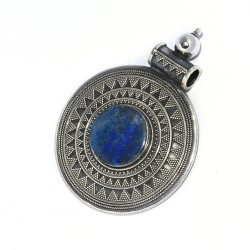 Round Shape !! Lapis Lazuli Pendant 925 Sterling Silver Handmade Oxidized Jewelry Gift For Her