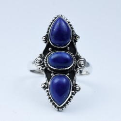 Lapis Lazuli Ring Handmade 925 Sterling Silver Friendship Ring Oxidized Silver Jewellery Indian Silver Jewellery