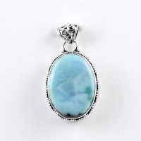 Larimar Pendant Oval Shape 925 Sterling Silver Oxidized Silver Indian Jewellery