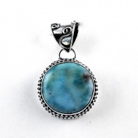 Larimar Pendant Round Shape 925 Sterling Silver Manufacture Silver Jewelry Artisan Design Jewelry