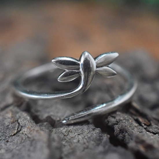Leaf Shape Band Ring Solid 925 Sterling Silver Ring Jewelry Handcrafted Silver Jewelry