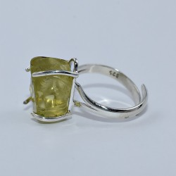 Lemon Quartz 925 Sterling Silver Handmade Ring Rough Stone Ring Jewelry Gift For Her