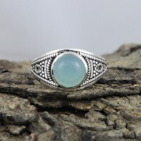 Natural Light Blue Chalcedony 925 Sterling Silver Ring Jewelry