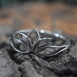 Lotus Shape Band Ring Handmade Solid 925 Sterling Silver Oxidized Silver Jewellery