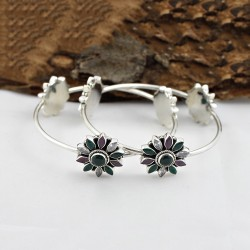 Fabulous Design Natural Multi CZ Gemstone Bangle 925 Sterling Silver Boho Jewely