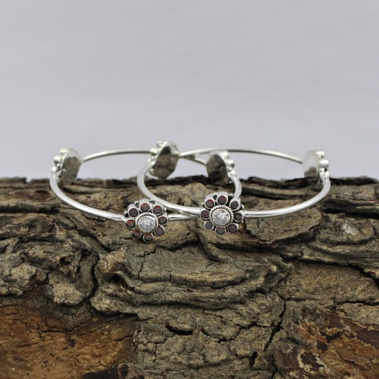 925 Sterling Silver !! Multi C.Z Round Shape Faceted Gemstone Bangle Jewelry Gift For Her