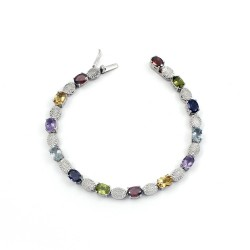 Makes A Good Choice !! Multi Gemstone 925 Sterling Silver Friendship Bracelet Jewelry