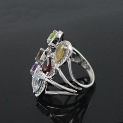 Multi Choice Stone 925 Sterling Silver Rhodium Plated Ring Handmade Jewelry
